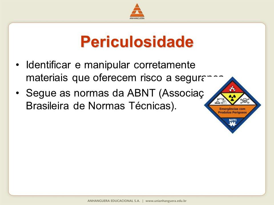 Identificar e manipular corretamente materiais que oferecem risco a segurança. Segue as normas da ABNT (Associação Brasileira de Normas Técnicas). Per