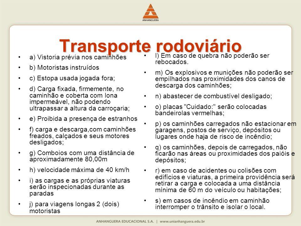 Transporte rodoviário a) Vistoria prévia nos caminhões b) Motoristas instruídos c) Estopa usada jogada fora; d) Carga fixada, firmemente, no caminhão