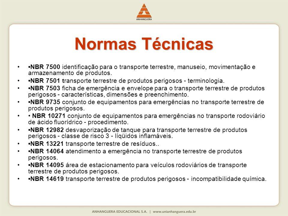 Normas Técnicas NBR 7500 identificação para o transporte terrestre, manuseio, movimentação e armazenamento de produtos. NBR 7501 transporte terrestre