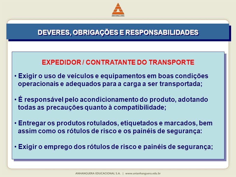 EXPEDIDOR / CONTRATANTE DO TRANSPORTE Exigir o uso de veículos e equipamentos em boas condições operacionais e adequados para a carga a ser transporta