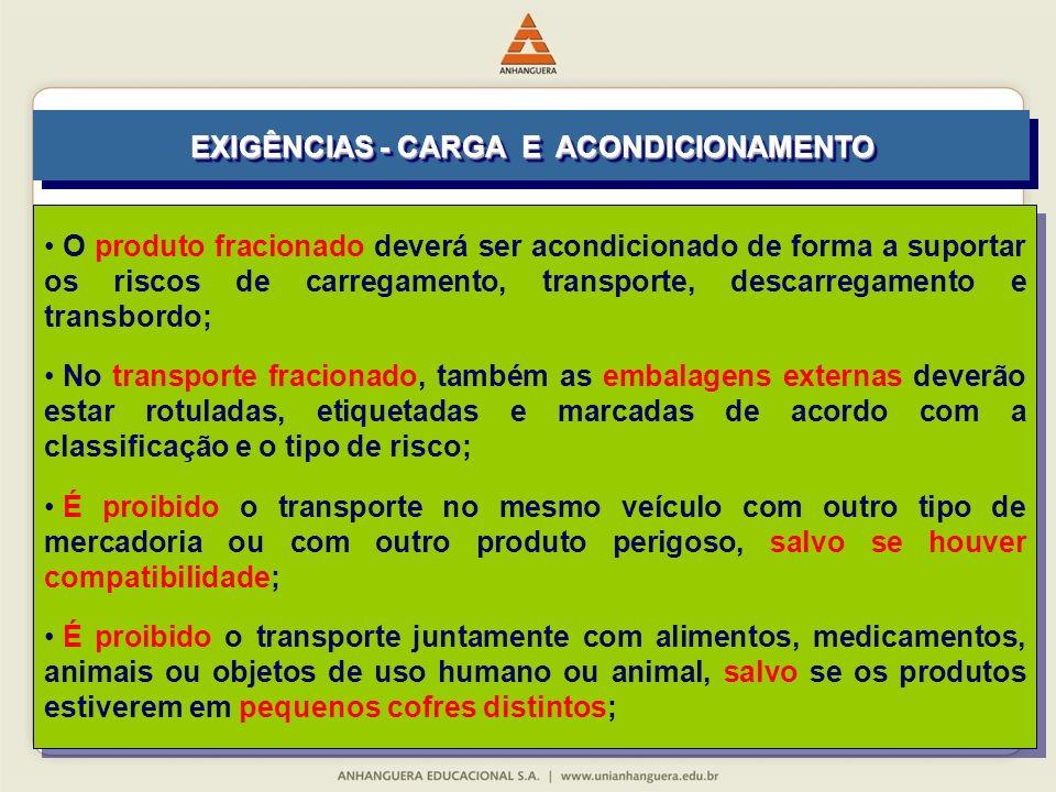 O produto fracionado deverá ser acondicionado de forma a suportar os riscos de carregamento, transporte, descarregamento e transbordo; No transporte f