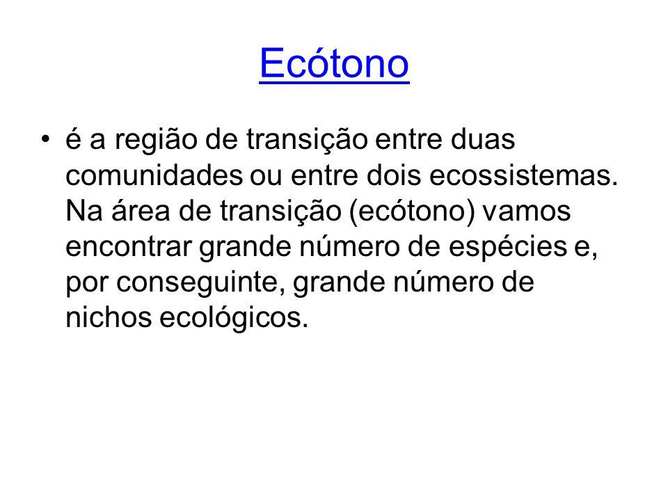 Ecótono é a região de transição entre duas comunidades ou entre dois ecossistemas. Na área de transição (ecótono) vamos encontrar grande número de esp