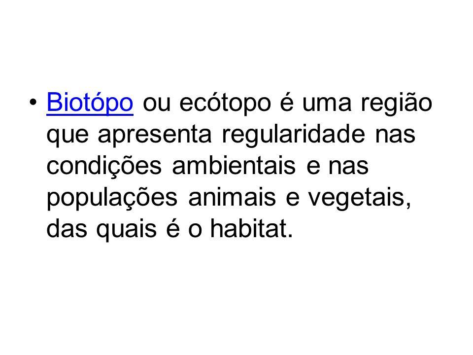 Biotópo ou ecótopo é uma região que apresenta regularidade nas condições ambientais e nas populações animais e vegetais, das quais é o habitat.Biotópo