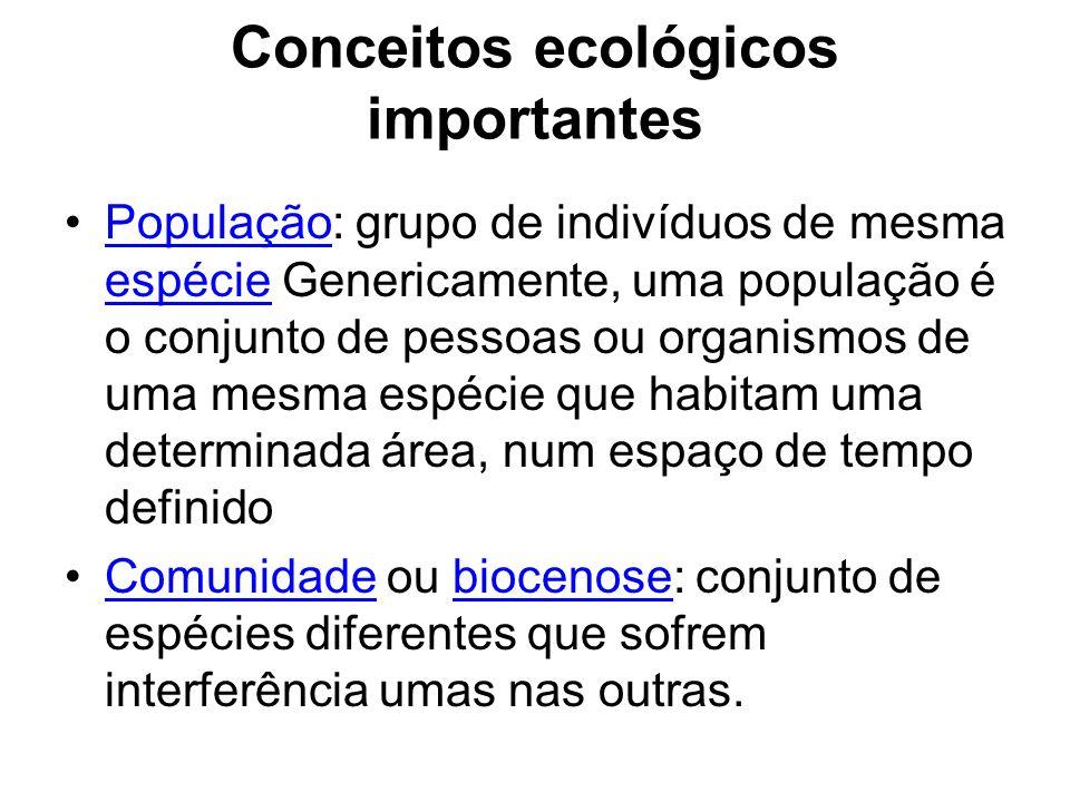 Conceitos ecológicos importantes População: grupo de indivíduos de mesma espécie Genericamente, uma população é o conjunto de pessoas ou organismos de