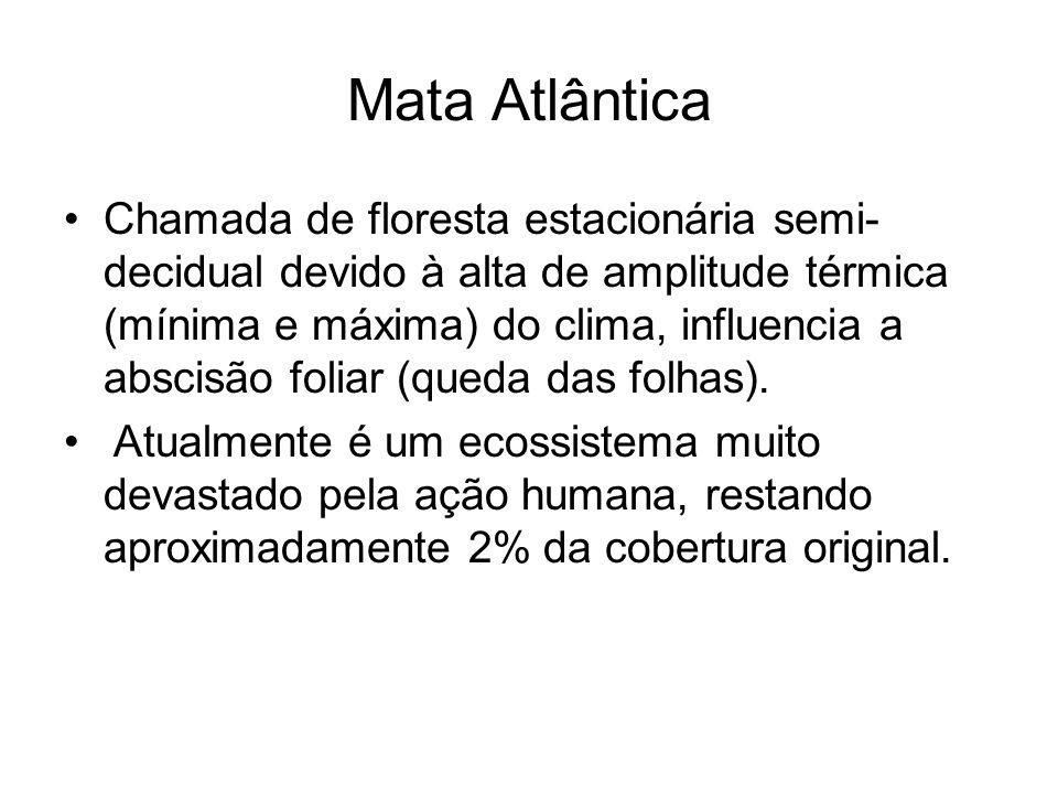 Mata Atlântica Chamada de floresta estacionária semi- decidual devido à alta de amplitude térmica (mínima e máxima) do clima, influencia a abscisão fo