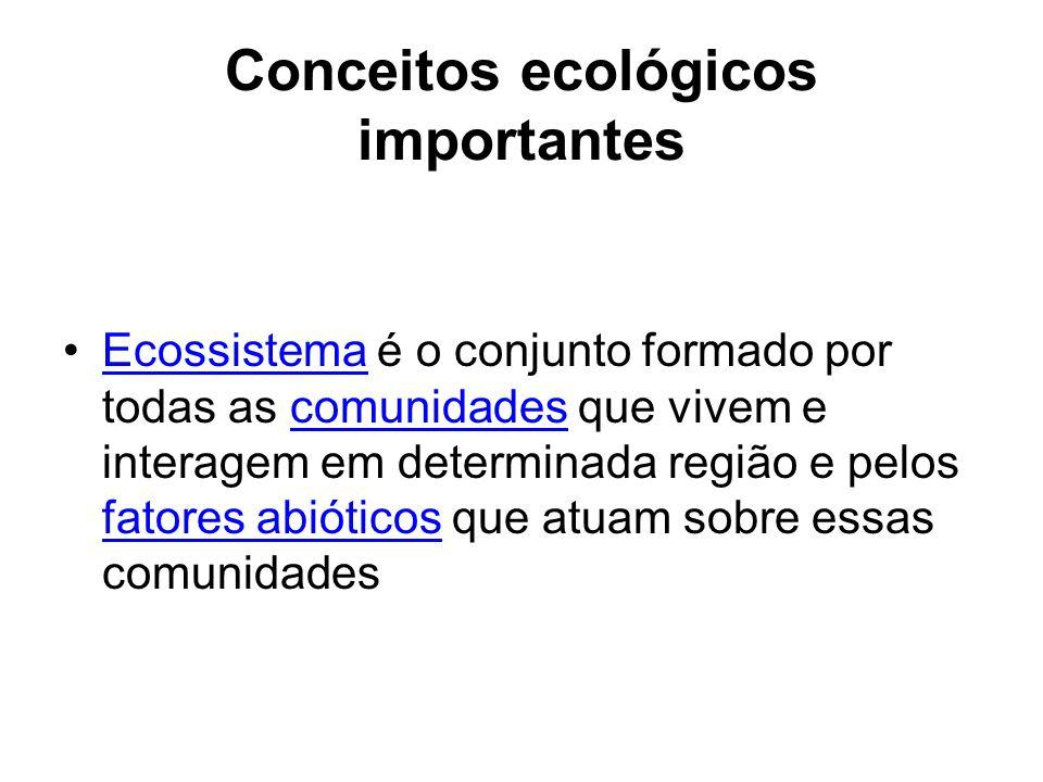 Conceitos ecológicos importantes Ecossistema é o conjunto formado por todas as comunidades que vivem e interagem em determinada região e pelos fatores