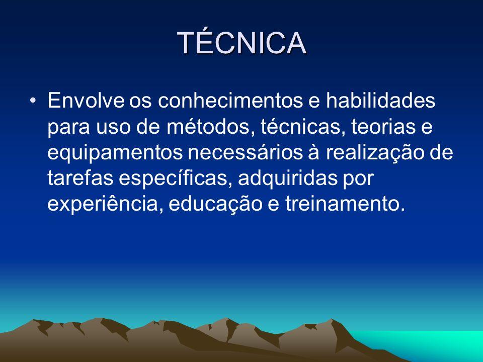 TÉCNICA Envolve os conhecimentos e habilidades para uso de métodos, técnicas, teorias e equipamentos necessários à realização de tarefas específicas,