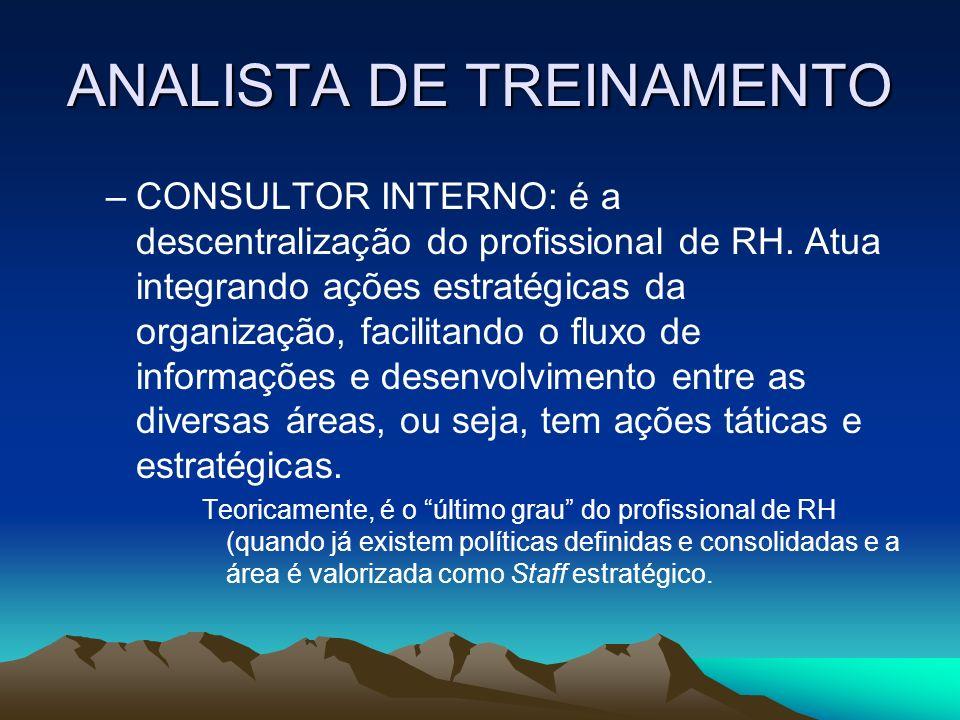 ANALISTA DE TREINAMENTO –CONSULTOR INTERNO: é a descentralização do profissional de RH. Atua integrando ações estratégicas da organização, facilitando