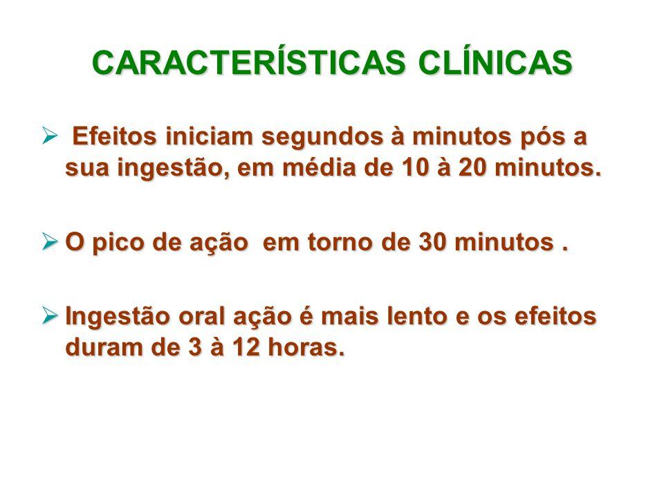 CARACTERÍSTICAS CLÍNICAS Efeitos iniciam segundos à minutos pós a sua ingestão, em média de 10 à 20 minutos. O pico de ação em torno de 30 minutos. O