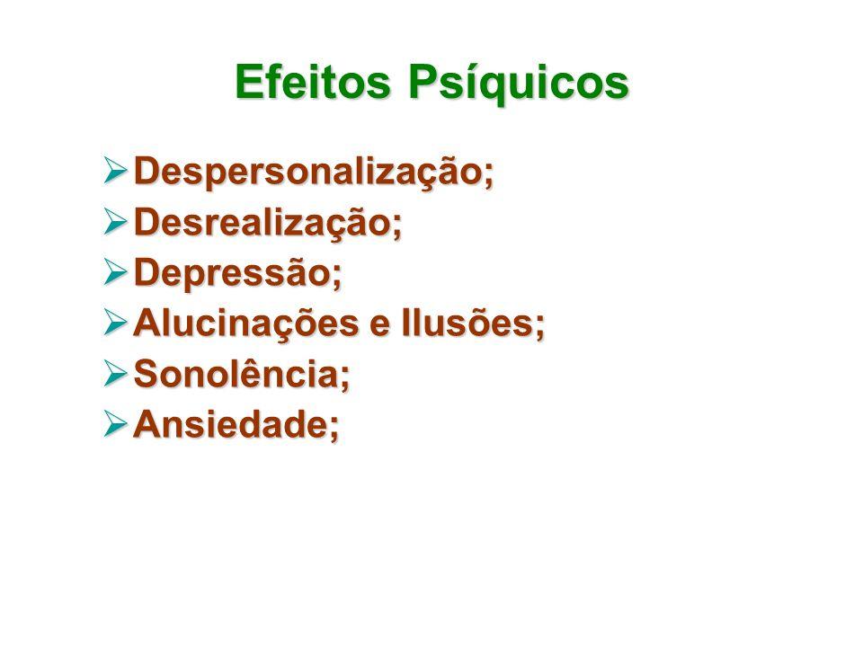 Efeitos Psíquicos Despersonalização; Despersonalização; Desrealização; Desrealização; Depressão; Depressão; Alucinações e Ilusões; Alucinações e Ilusõ