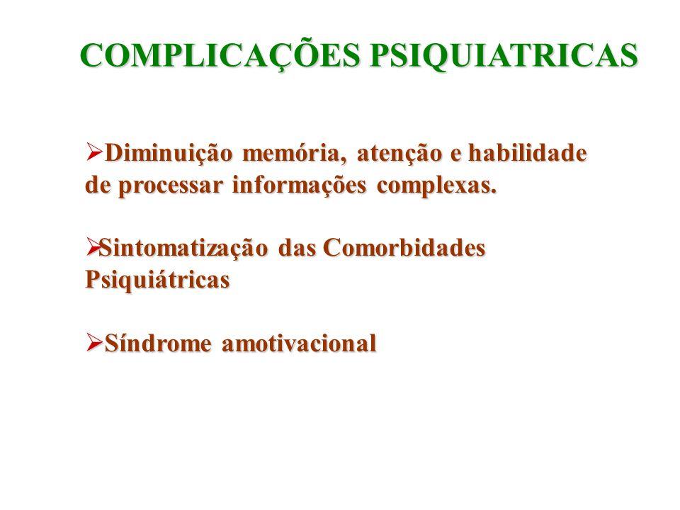 COMPLICAÇÕES PSIQUIATRICAS Diminuição memória, atenção e habilidade de processar informações complexas. Sintomatização das Comorbidades Psiquiátricas
