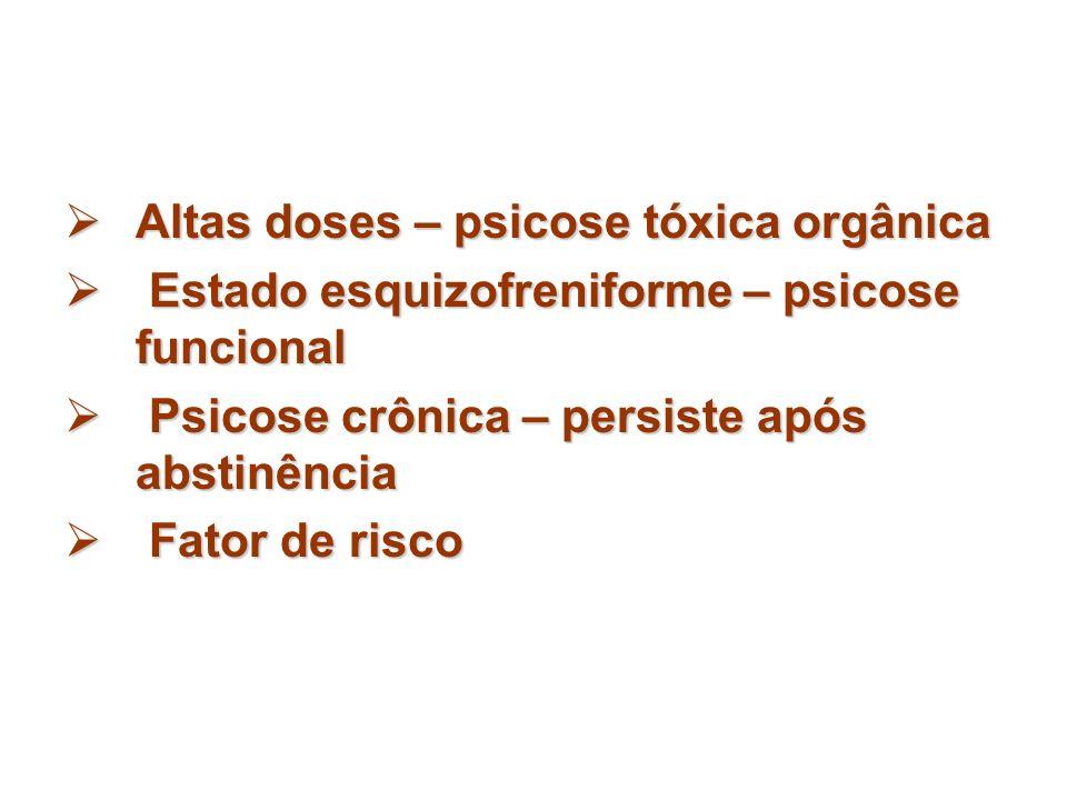 Altas doses – psicose tóxica orgânica Altas doses – psicose tóxica orgânica Estado esquizofreniforme – psicose funcional Estado esquizofreniforme – ps