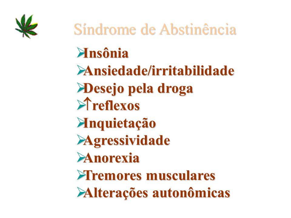 Síndrome de Abstinência Insônia Insônia Ansiedade/irritabilidade Ansiedade/irritabilidade Desejo pela droga Desejo pela droga reflexos reflexos Inquie