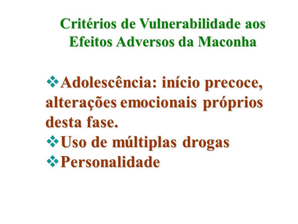Critérios de Vulnerabilidade aos Efeitos Adversos da Maconha Adolescência: início precoce, alterações emocionais próprios desta fase. Adolescência: in
