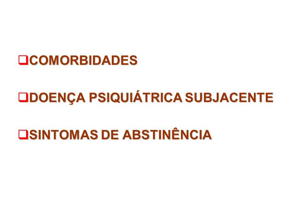 COMORBIDADES COMORBIDADES DOENÇA PSIQUIÁTRICA SUBJACENTE DOENÇA PSIQUIÁTRICA SUBJACENTE SINTOMAS DE ABSTINÊNCIA SINTOMAS DE ABSTINÊNCIA