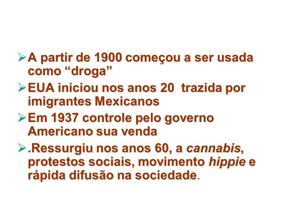 A partir de 1900 começou a ser usada como droga A partir de 1900 começou a ser usada como droga EUA iniciou nos anos 20 trazida por imigrantes Mexican