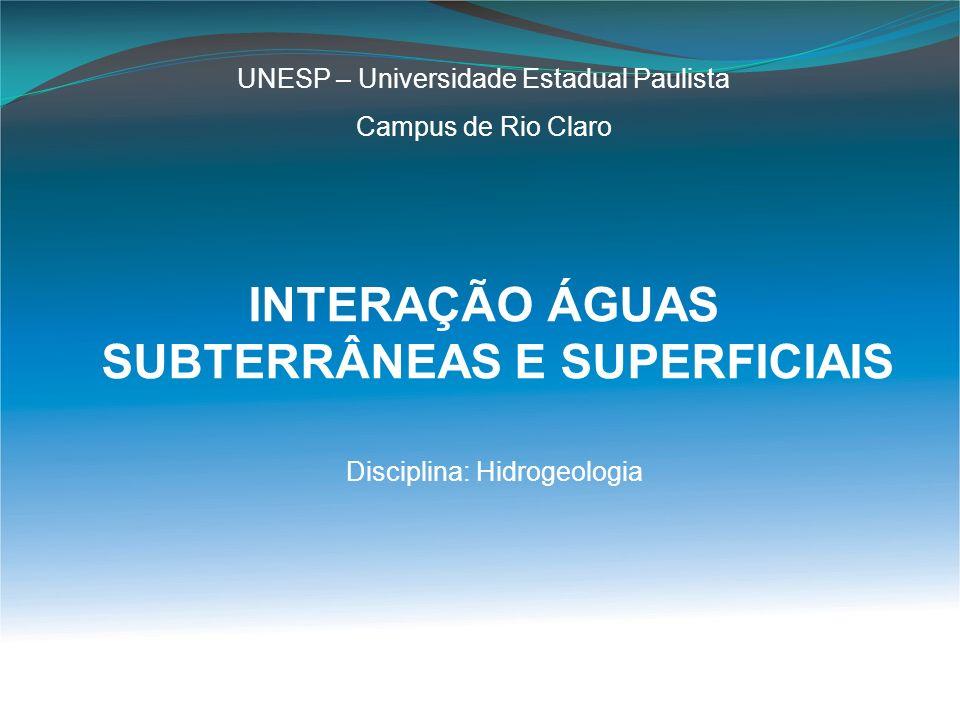 INTERAÇÃO ÁGUAS SUBTERRÂNEAS E SUPERFICIAIS UNESP – Universidade Estadual Paulista Campus de Rio Claro Disciplina: Hidrogeologia