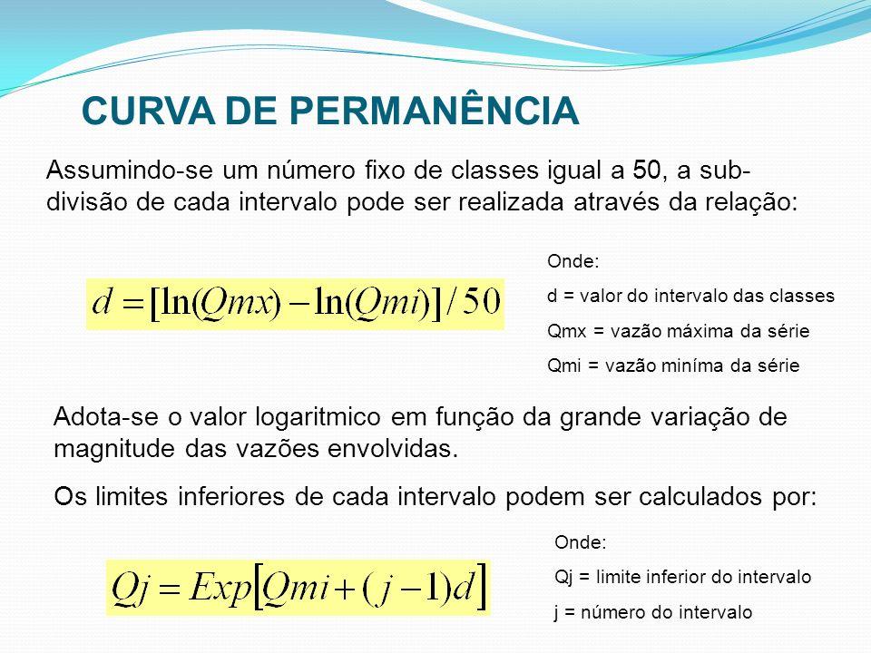 Assumindo-se um número fixo de classes igual a 50, a sub- divisão de cada intervalo pode ser realizada através da relação: Adota-se o valor logaritmic