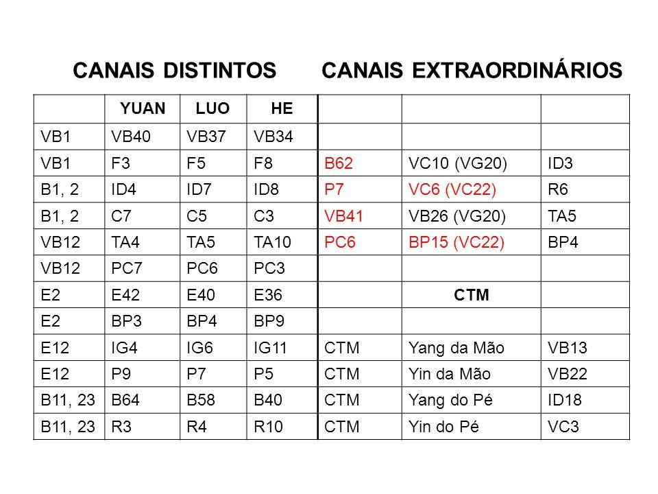 CANAIS DISTINTOS CANAIS EXTRAORDINÁRIOS YUANLUOHE VB1VB40VB37VB34 VB1F3F5F8B62VC10 (VG20)ID3 B1, 2ID4ID7ID8P7VC6 (VC22)R6 B1, 2C7C5C3VB41VB26 (VG20)TA