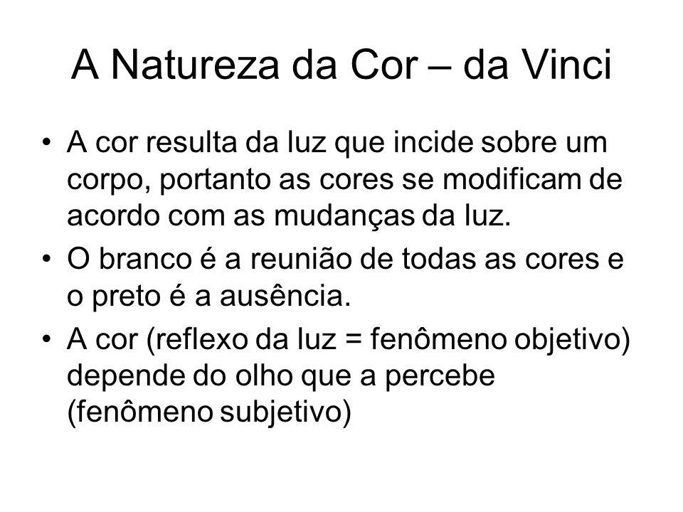 A Natureza da Cor – da Vinci A cor resulta da luz que incide sobre um corpo, portanto as cores se modificam de acordo com as mudanças da luz. O branco