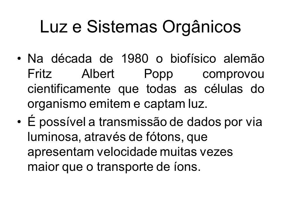 Luz e Sistemas Orgânicos Na década de 1980 o biofísico alemão Fritz Albert Popp comprovou cientificamente que todas as células do organismo emitem e c