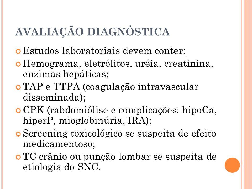 AVALIAÇÃO DIAGNÓSTICA Estudos laboratoriais devem conter: Hemograma, eletrólitos, uréia, creatinina, enzimas hepáticas; TAP e TTPA (coagulação intrava