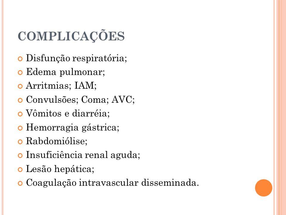 COMPLICAÇÕES Disfunção respiratória; Edema pulmonar; Arritmias; IAM; Convulsões; Coma; AVC; Vômitos e diarréia; Hemorragia gástrica; Rabdomiólise; Ins