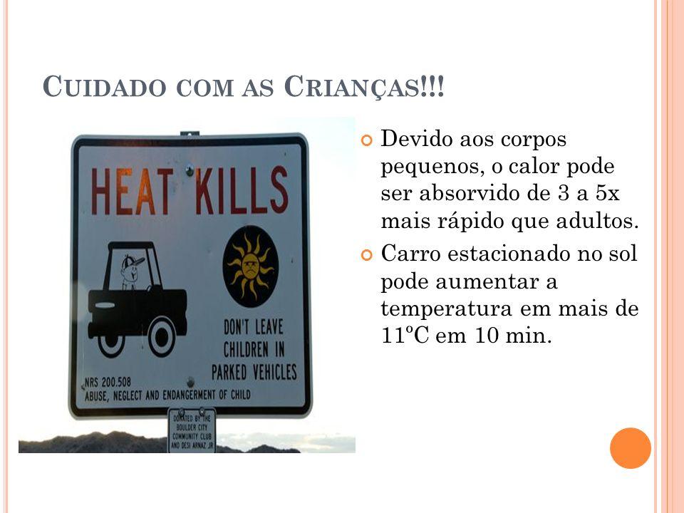 C UIDADO COM AS C RIANÇAS !!! Devido aos corpos pequenos, o calor pode ser absorvido de 3 a 5x mais rápido que adultos. Carro estacionado no sol pode