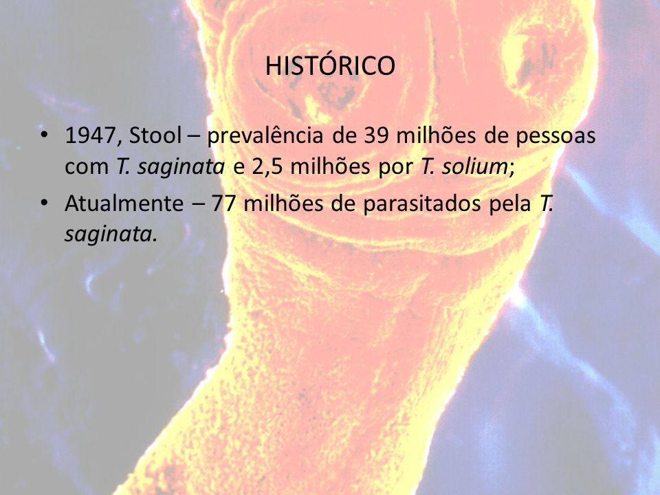 HISTÓRICO 1947, Stool – prevalência de 39 milhões de pessoas com T. saginata e 2,5 milhões por T. solium; Atualmente – 77 milhões de parasitados pela