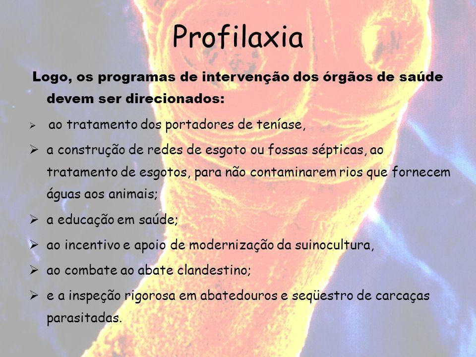 Profilaxia Logo, os programas de intervenção dos órgãos de saúde devem ser direcionados: ao tratamento dos portadores de teníase, a construção de rede