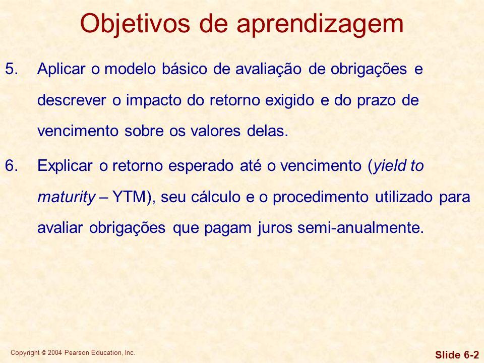 Copyright © 2004 Pearson Education, Inc. Slide 6-32 Modelo básico de avaliação