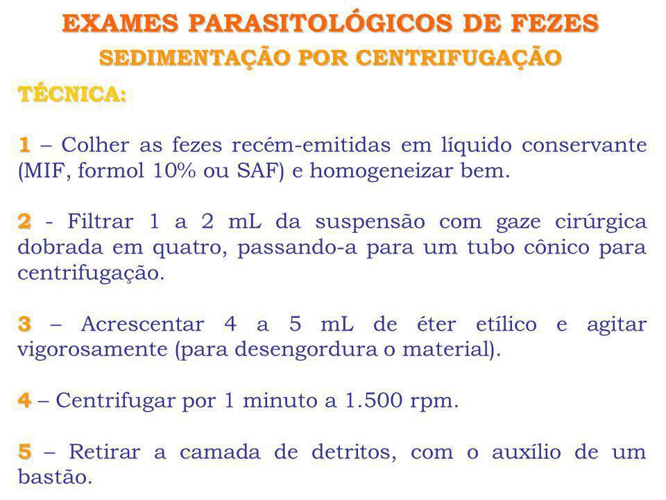 EXAMES PARASITOLÓGICOS DE FEZES SEDIMENTAÇÃO POR CENTRIFUGAÇÃO TÉCNICA: 1 1 – Colher as fezes recém-emitidas em líquido conservante (MIF, formol 10% o