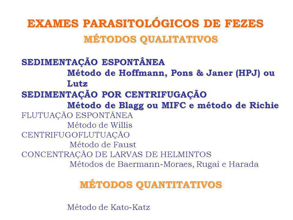 MÉTODOS QUALITATIVOS SEDIMENTAÇÃO ESPONTÂNEA Método de Hoffmann, Pons & Janer (HPJ) ou Lutz SEDIMENTAÇÃO POR CENTRIFUGAÇÃO Método de Blagg ou MIFC e m