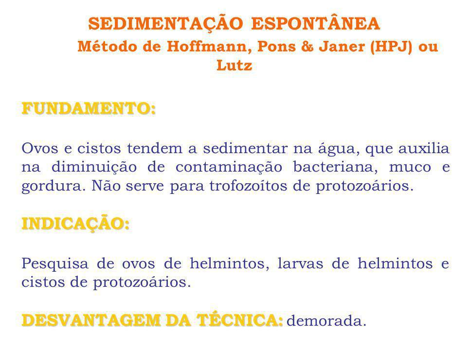 SEDIMENTAÇÃO ESPONTÂNEA Método de Hoffmann, Pons & Janer (HPJ) ou Lutz FUNDAMENTO: Ovos e cistos tendem a sedimentar na água, que auxilia na diminuiçã
