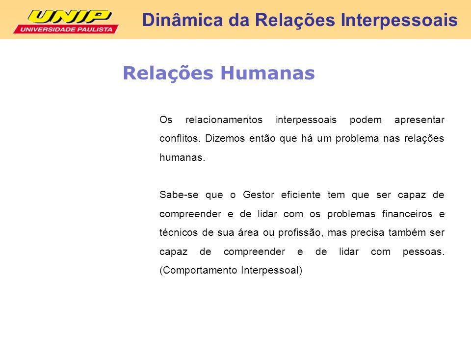 Dinâmica da Relações Interpessoais Relações Humanas Os relacionamentos interpessoais podem apresentar conflitos. Dizemos então que há um problema nas