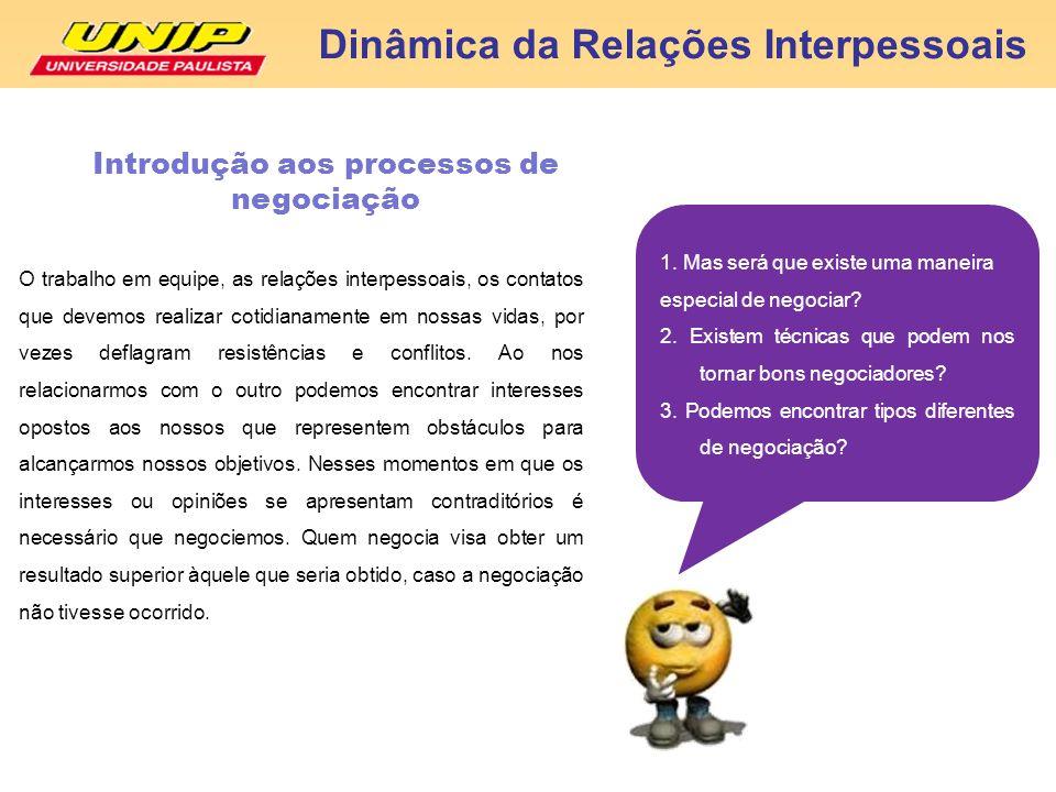 Dinâmica da Relações Interpessoais Introdução aos processos de negociação O trabalho em equipe, as relações interpessoais, os contatos que devemos rea