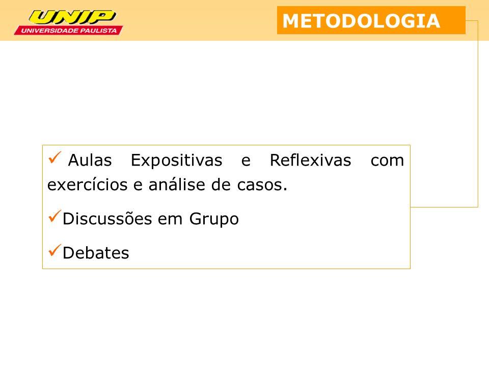 METODOLOGIA Aulas Expositivas e Reflexivas com exercícios e análise de casos. Discussões em Grupo Debates