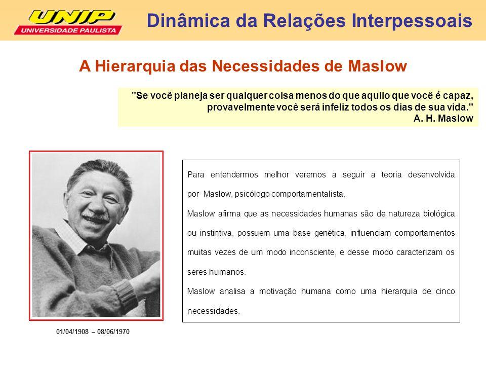 Para entendermos melhor veremos a seguir a teoria desenvolvida por Maslow, psicólogo comportamentalista. Maslow afirma que as necessidades humanas são