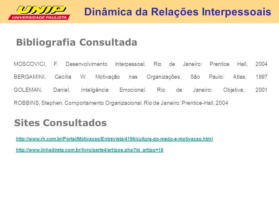 Bibliografia Consultada Dinâmica da Relações Interpessoais MOSCOVICI, F. Desenvolvimento Interpessoal. Rio de Janeiro: Prentice Hall, 2004 BERGAMINI,