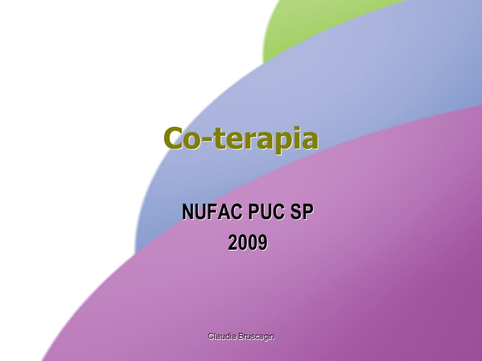 Claudia Bruscagin Co-terapia NUFAC PUC SP 2009 NUFAC PUC SP 2009