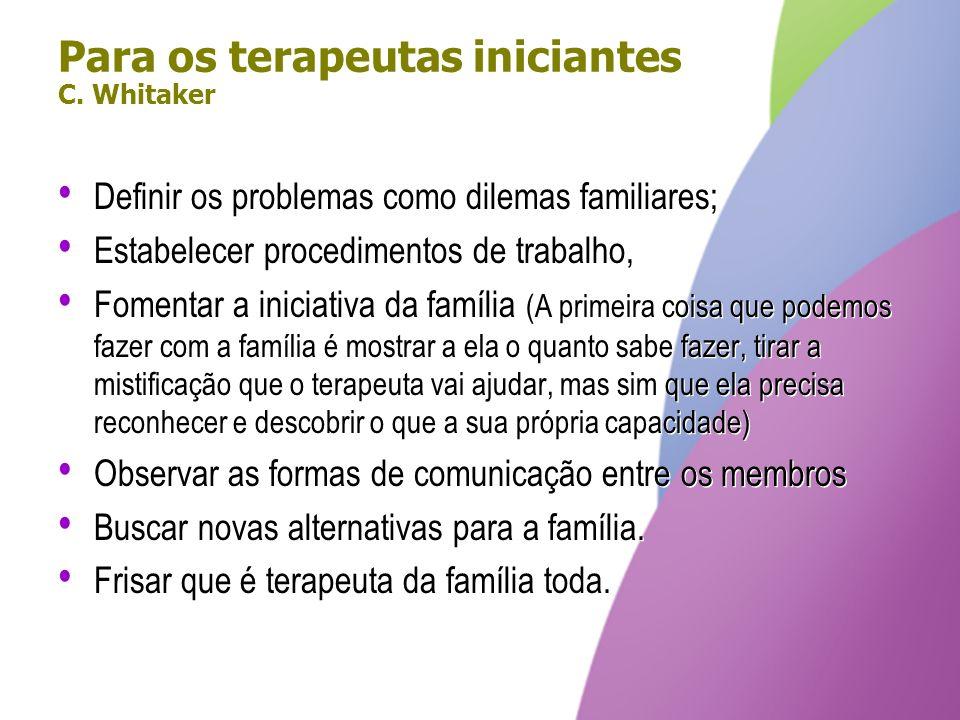 Para os terapeutas iniciantes C. Whitaker Definir os problemas como dilemas familiares; Estabelecer procedimentos de trabalho, Fomentar a iniciativa d