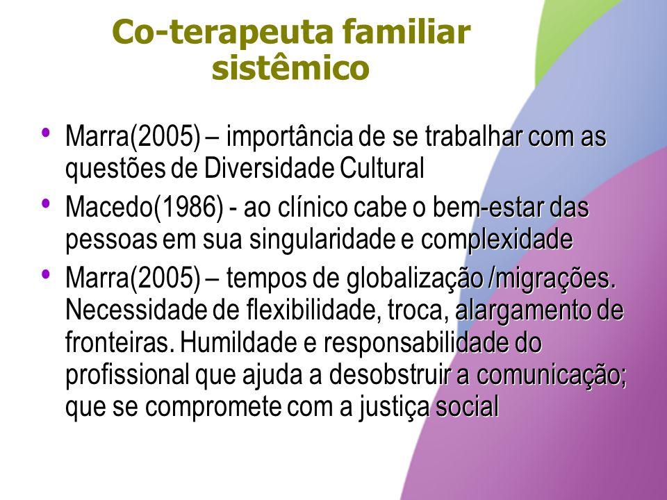 Co-terapeuta familiar sistêmico Marra(2005) – importância de se trabalhar com as questões de Diversidade Cultural Macedo(1986) - ao clínico cabe o bem
