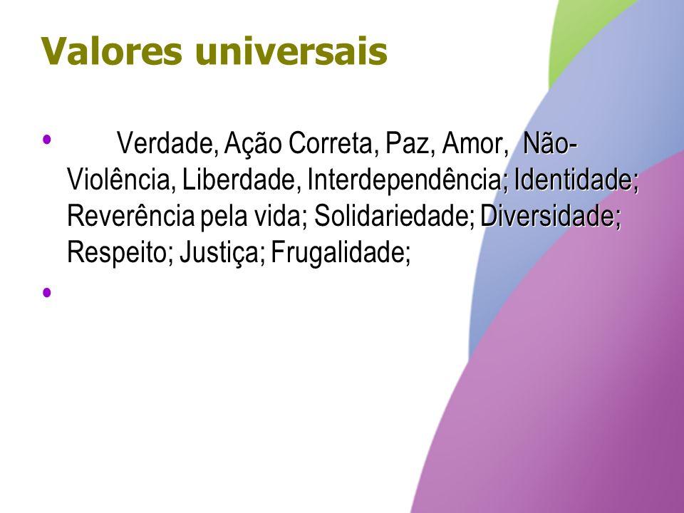 Valores universais Verdade, Ação Correta, Paz, Amor, Não- Violência, Liberdade, Interdependência; Identidade; Reverência pela vida; Solidariedade; Div