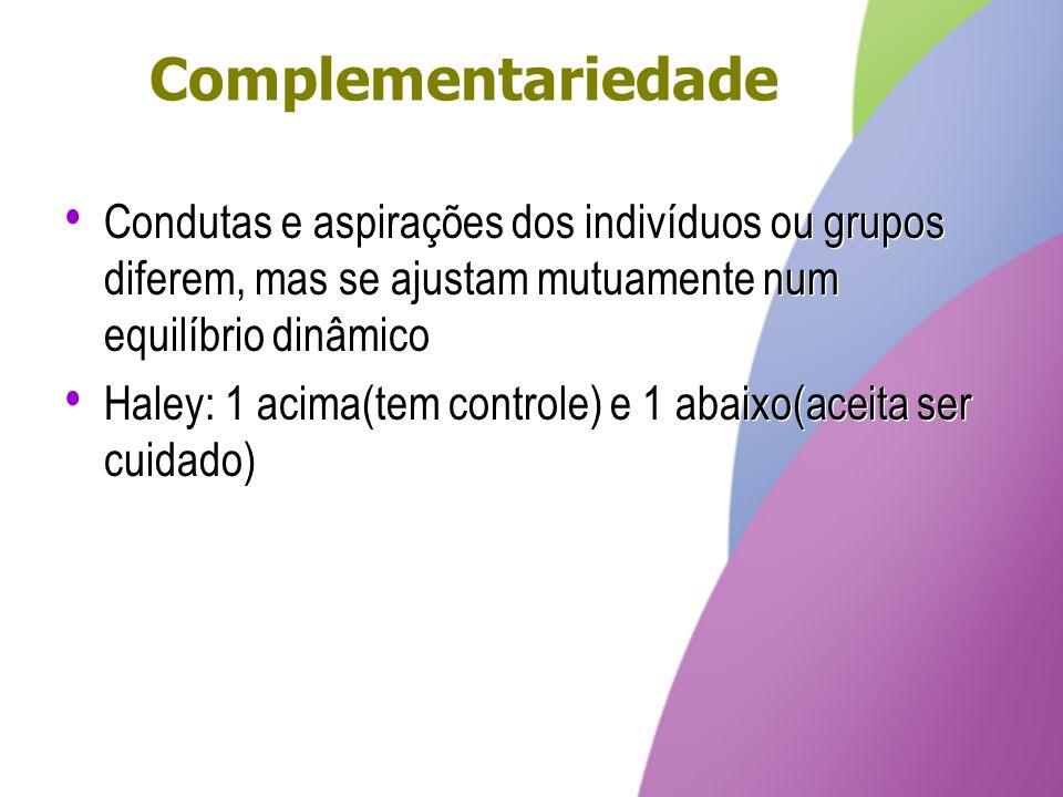Complementariedade Condutas e aspirações dos indivíduos ou grupos diferem, mas se ajustam mutuamente num equilíbrio dinâmico Haley: 1 acima(tem contro
