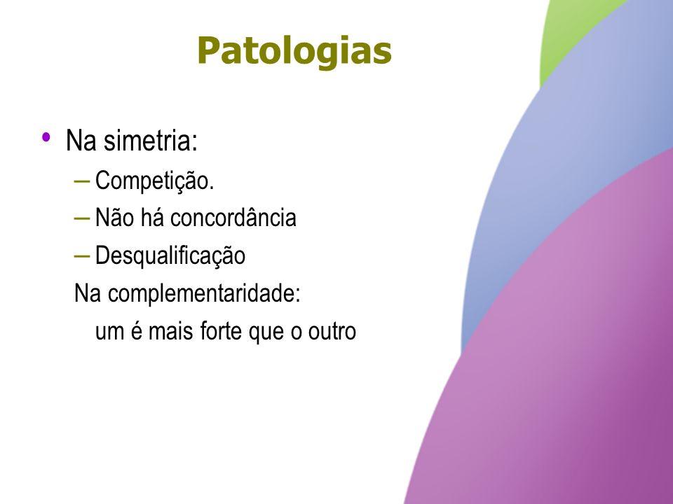 Patologias Na simetria: – Competição. – Não há concordância – Desqualificação Na complementaridade: um é mais forte que o outro Na simetria: – Competi