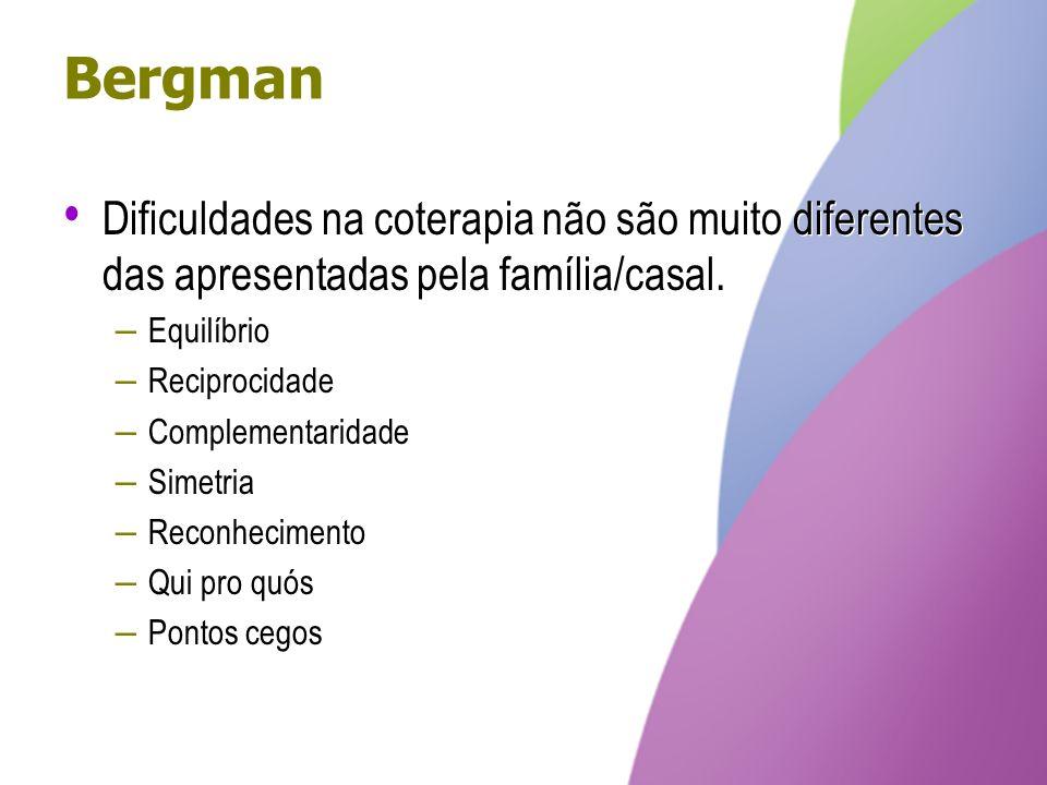 Bergman Dificuldades na coterapia não são muito diferentes das apresentadas pela família/casal. – Equilíbrio – Reciprocidade – Complementaridade – Sim