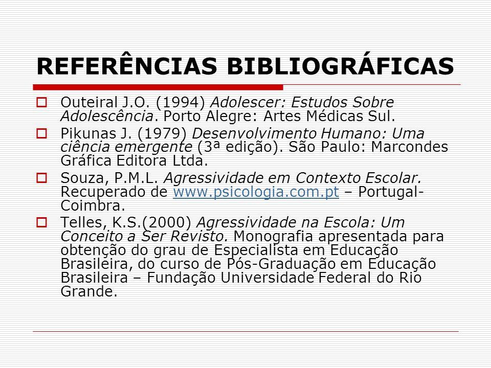 REFERÊNCIAS BIBLIOGRÁFICAS Outeiral J.O. (1994) Adolescer: Estudos Sobre Adolescência. Porto Alegre: Artes Médicas Sul. Pikunas J. (1979) Desenvolvime