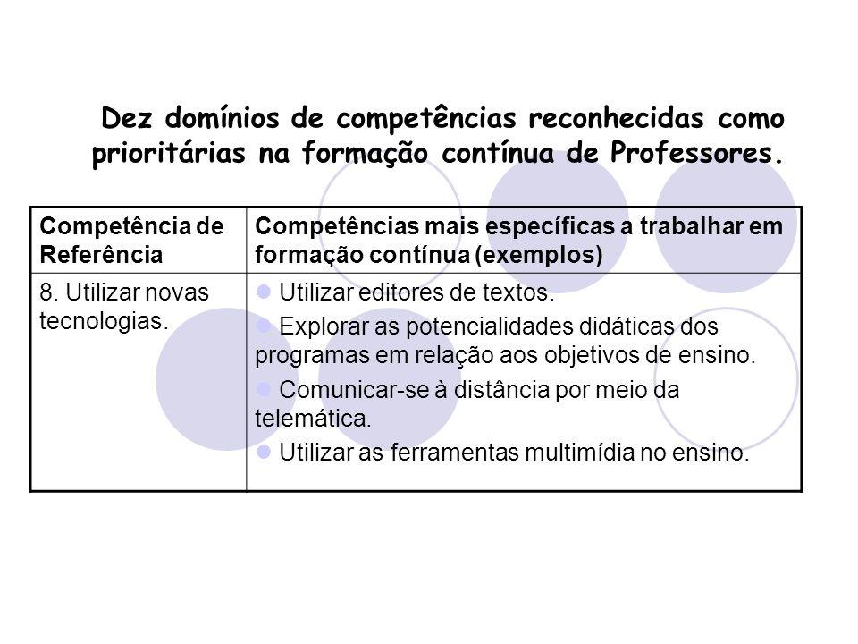 Dez domínios de competências reconhecidas como prioritárias na formação contínua de Professores. Competência de Referência Competências mais específic