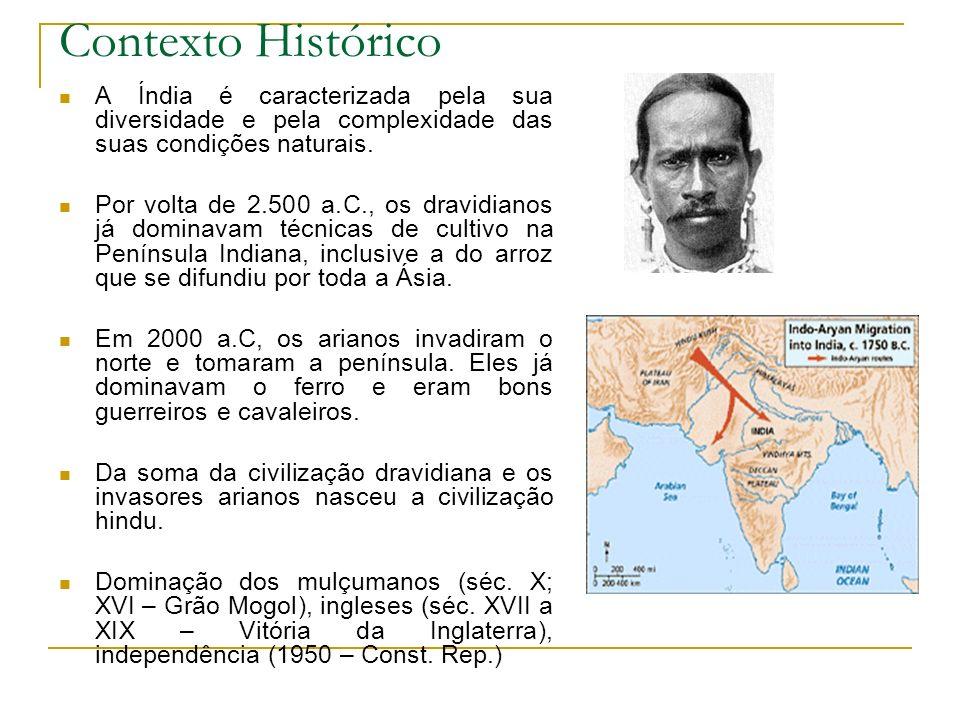 Contexto Histórico A Índia é caracterizada pela sua diversidade e pela complexidade das suas condições naturais. Por volta de 2.500 a.C., os dravidian