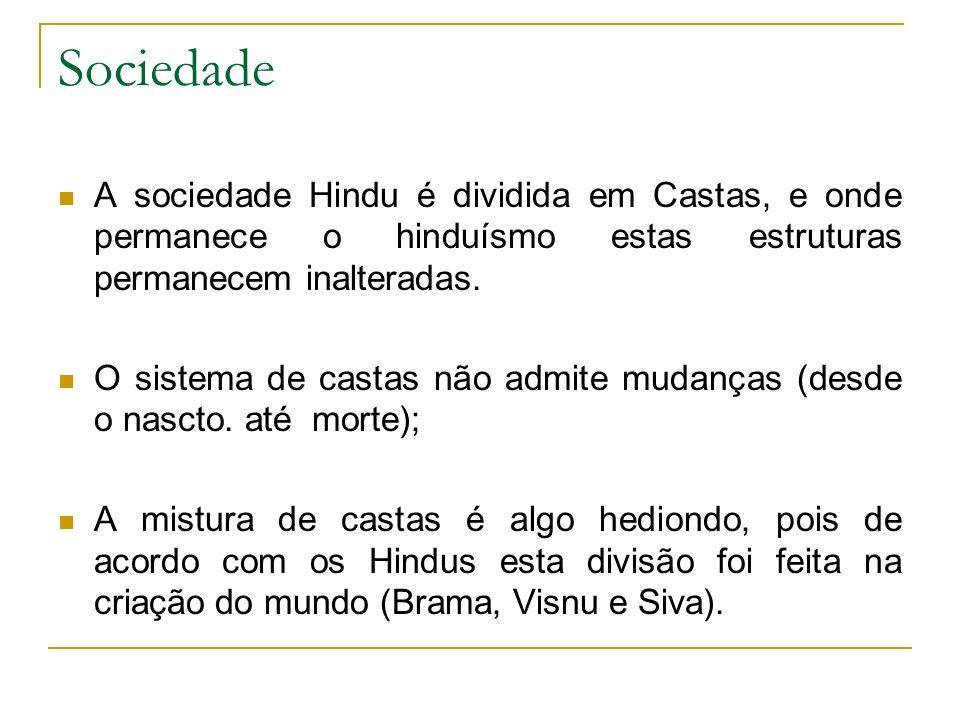 Sociedade A sociedade Hindu é dividida em Castas, e onde permanece o hinduísmo estas estruturas permanecem inalteradas. O sistema de castas não admite